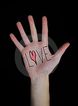 Love Written On Hand Royalty Free Stock Images - Image: 14506089