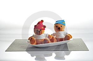Teddy Bear Humor - Teddy Served On A Dish 2 Stock Photo - Image: 14511170