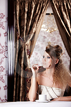 The Girl  In Cafe Royalty Free Stock Photos - Image: 14515608