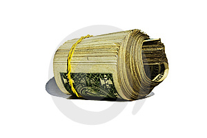The American Dollars Braided By An Elastic Band Royalty Free Stock Images - Image: 14516989