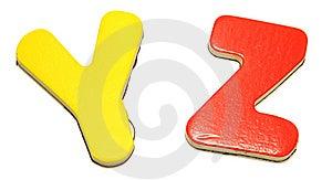 Kolorowi Listy Magnesowy Y Z Fotografia Royalty Free - Obraz: 14517227