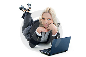 Girl With Laptop Royalty Free Stock Photography - Image: 14519727