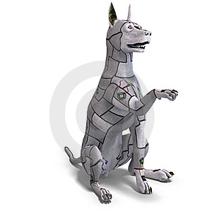 Electronical Scifi Dog Of The Future. 3D Stock Images - Image: 14521904
