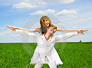 Couple In A Flower Field Stock Images - Image: 14523254