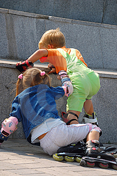Kids Are Getting Up After Fall. Royalty Free Stock Photo - Image: 14524495