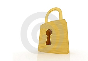 Golden Padlock Icon Perspective Stock Images - Image: 14524884