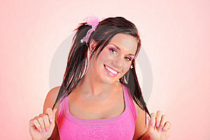 Beautiful Woman With Funny Dual Pony Tails Stock Image - Image: 14528781