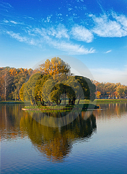 Idyllic  Park Area Near Blue Lake Stock Images - Image: 14530154