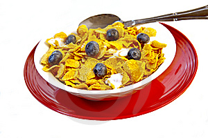 Bowl Of Corn Flakes With Fresh Blueberries Royalty Free Stock Photo - Image: 14534875