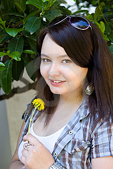 Portrait Of A Young Girl With A Dandelion Royalty Free Stock Photos - Image: 14535068