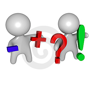 Plus And Minus, Question And Answer Guys Royalty Free Stock Photo - Image: 14535325