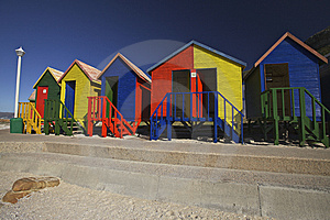 Wooden Changing Cabins At The Beach, Cape Town Stock Images - Image: 14537294