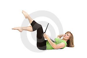 Woman On Back With Laptop Toes Up Royalty Free Stock Image - Image: 14538136