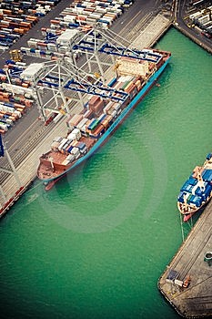 Containership In The Port Royalty Free Stock Image - Image: 14544426