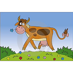 Happy Cow At The Meadow Royalty Free Stock Photo - Image: 14545615