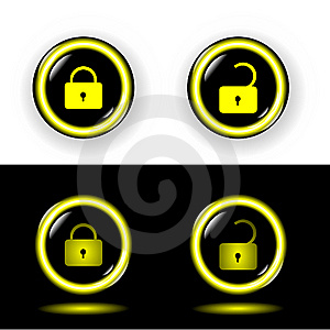 Buttons Lock With Gold A Rim Shone Vector Stock Images - Image: 14546164