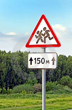 School Roadside Warning Sign. Stock Images - Image: 14550494