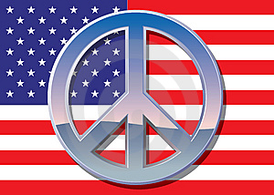 Flag With Chrome Peace Sign Royalty Free Stock Photography - Image: 14552547