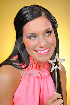 Beautiful Woman With Creative Make-up And The Star Royalty Free Stock Photo - Image: 14557705