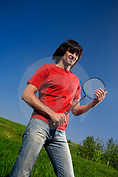 Boy In Red T-shirt With Racket Royalty Free Stock Images - Image: 14558139