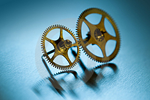 Two Gears On Cyan Stock Photos - Image: 14558523