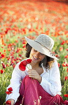 Woman In Field Stock Photos - Image: 14559623
