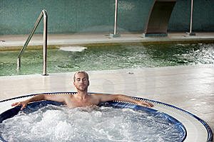 Handsome Man In Jacuzzi Stock Image - Image: 14559971