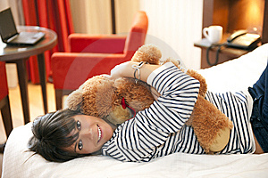 Woman With Teddy Bear Royalty Free Stock Image - Image: 14560096