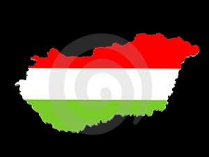 A Illustration Of The Hungarian Map And Flag Royalty Free Stock Image - Image: 14561876