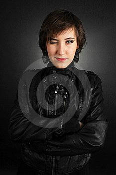 Rock Girl In Leather Outfit Stock Images - Image: 14566724