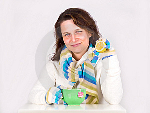 Young Happy Woman Drinking Hot Tea Royalty Free Stock Photo - Image: 14569325