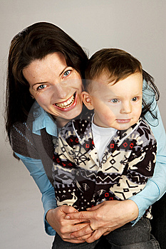 Laughing Woman With Her Son Stock Images - Image: 14570084
