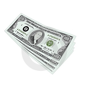 100 Dollars Notes Isolated Stock Photos - Image: 14572123