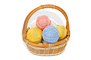 Ball Of Threads In A Basket Stock Photo - Image: 14572330