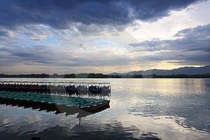 Boats On The Kunming Lake At Dusk, Beijing Royalty Free Stock Images - Image: 14574209