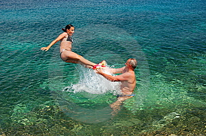 Jumping Into Adriatic Water Royalty Free Stock Photo - Image: 14574655
