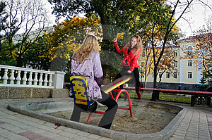 Girls On A Swing Stock Photos - Image: 14576983
