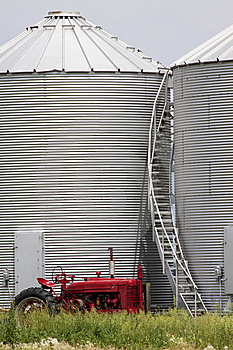 Red Tractor And Silo Stairs Royalty Free Stock Image - Image: 14579806