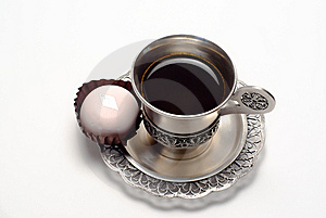 Silver Cup Of Coffee With White Cake Royalty Free Stock Image - Image: 14581856