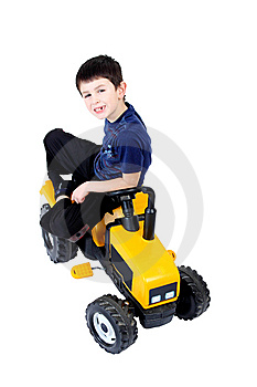 Small Boy On The Yellow Tractor Stock Images - Image: 14584194