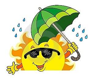 Sun De Cachette Avec Le Grand Parapluie Images libres de droits - Image: 14587809