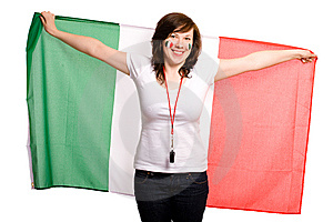Female Supporter Of Italian Team Royalty Free Stock Image - Image: 14588006