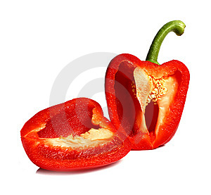 Pepper Cut On Two Halves Royalty Free Stock Images - Image: 14590659