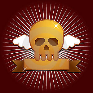 Winged Skull With Banner Royalty Free Stock Images - Image: 14591589