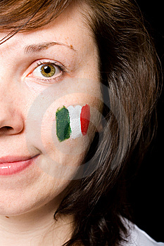 Young Female Italian Team Fan Isolated On Black Stock Image - Image: 14594931
