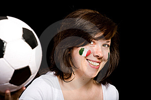 Young Female Italian Soccer Team Fan Isolated Royalty Free Stock Photo - Image: 14595155