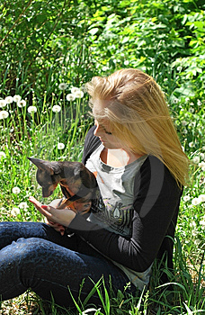Girl And Dog Royalty Free Stock Images - Image: 14599229
