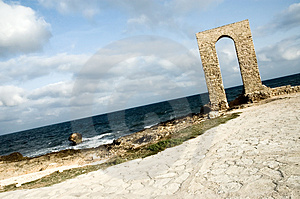 Ancient Arch - Ruins Over Seashore - Dynamic View Stock Image - Image: 1463471