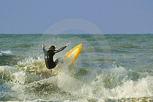 Crazy surfing Stock Photo