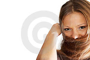 Young woman playing with hair. isolated. Stock Images